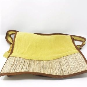 Jatra Yellow Messenger Burlap bag Brown Suede Trim